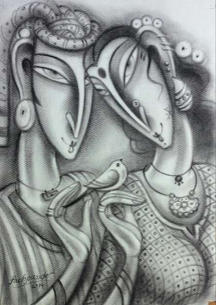Loving Couple | Painting by artist Ramesh Pachpande | charcoal | Paper