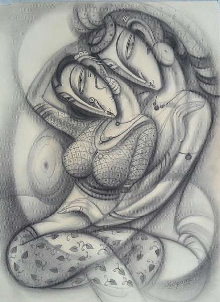 Love II | Painting by artist Ramesh Pachpande | charcoal | Paper