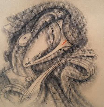Musician III | Painting by artist Ramesh Pachpande | charcoal | Paper