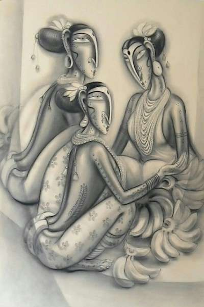Figurative Charcoal Art Painting title 'Three Women' by artist Ramesh Pachpande