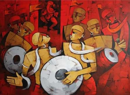 Figurative Acrylic Art Painting title 'Bhakti Rang' by artist Deepa Vedpathak