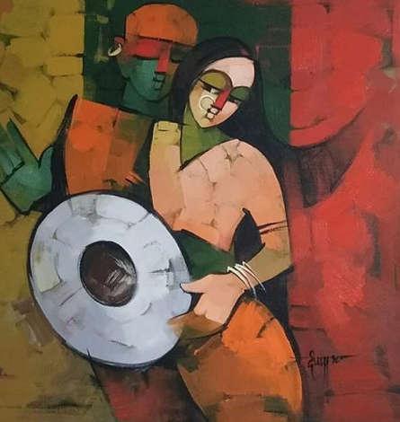 Figurative Acrylic Art Painting title 'Drummer 91' by artist Deepa Vedpathak
