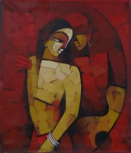 Figurative Acrylic Art Painting title 'Immersed 5' by artist Deepa Vedpathak