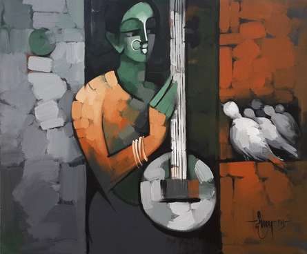Figurative Acrylic Art Painting title 'Myself 1' by artist Deepa Vedpathak