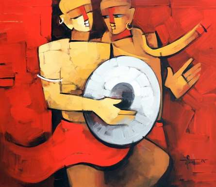 Deepa Vedpathak | Acrylic Painting title The Drummer 1 on Canvas | Artist Deepa Vedpathak Gallery | ArtZolo.com
