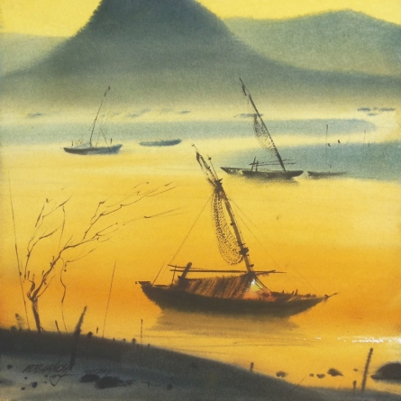 Nature Watercolor Art Painting title 'Boat 21' by artist Ganesh Hire