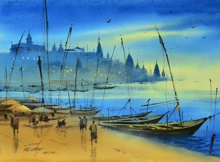 Banaras Ganga Ghat 11 | Painting by artist Ganesh Hire | watercolor | Paper
