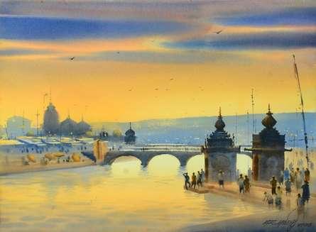 Banaras Ganga Ghat 10 | Painting by artist Ganesh Hire | watercolor | Paper