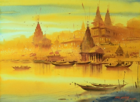 Ganesh Hire | Watercolor Painting title Banaras Ghat on Paper | Artist Ganesh Hire Gallery | ArtZolo.com