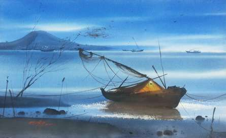 Nature Watercolor Art Painting title Beach Boat & Water by artist Ganesh Hire