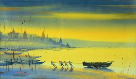 Nature Watercolor Art Painting title 'Banks of Banaras Ganga' by artist Ganesh Hire