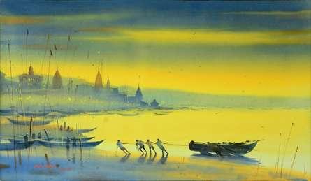 Banks of Banaras Ganga | Painting by artist Ganesh Hire | watercolor | Paper