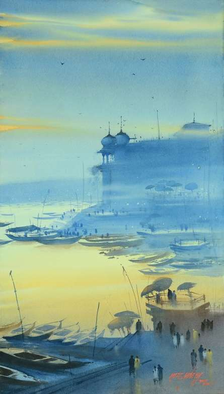 Nature Watercolor Art Painting title 'Banaras Ganga Ghat 15' by artist Ganesh Hire