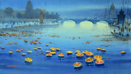 Floating Lamps in Banaras Ganga   Painting by artist Ganesh Hire   watercolor   Paper