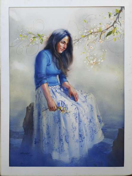 In Deep Thoughts 1 | Painting by artist Ganesh Hire | oil | Paper