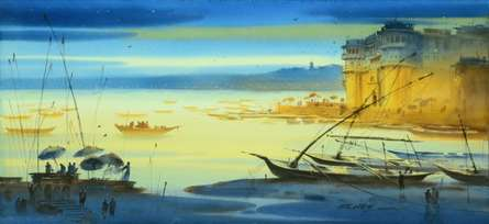 Nature Watercolor Art Painting title Banaras Ganga Ghat 15 by artist Ganesh Hire