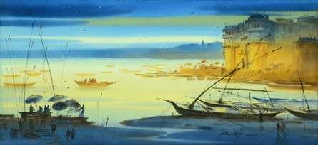 Nature Watercolor Art Painting title 'Banaras Ganga Ghat 15' by artist Ganesh Hire