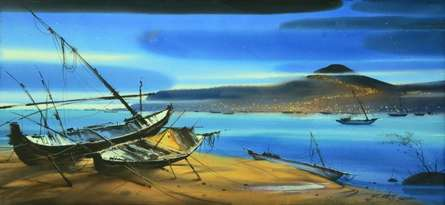 Nature Watercolor Art Painting title 'Boat On The Sea Shore 2' by artist Ganesh Hire
