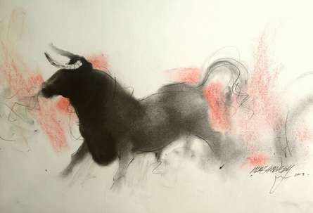 Charcoal Paintings | Drawing title Bull 1 on Paper | Artist Ganesh Hire