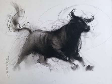 art, painting, charcoal, paper, animal, bull