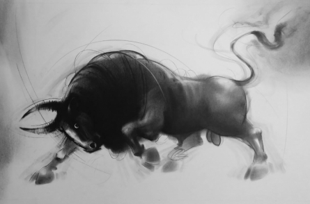 Animals Charcoal Art Painting title 'Bull 6' by artist Ganesh Hire