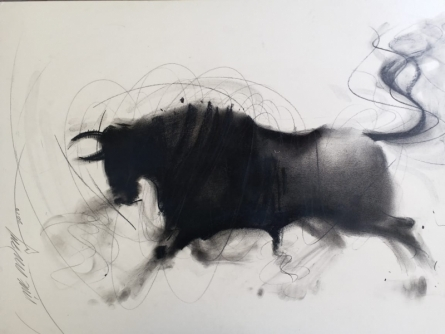 Animals Charcoal Art Painting title 'Bull 8' by artist Ganesh Hire