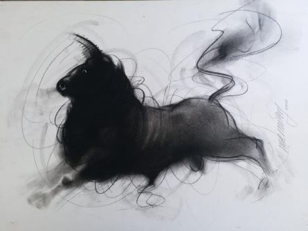 Animals Charcoal Art Painting title 'Bull 9' by artist Ganesh Hire
