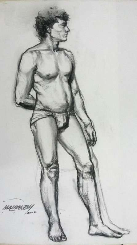 Nude Man | Drawing by artist Ganesh Hire | | charcoal | Paper
