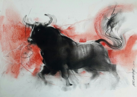 Animals Charcoal Art Drawing title Bull 3 by artist Ganesh Hire