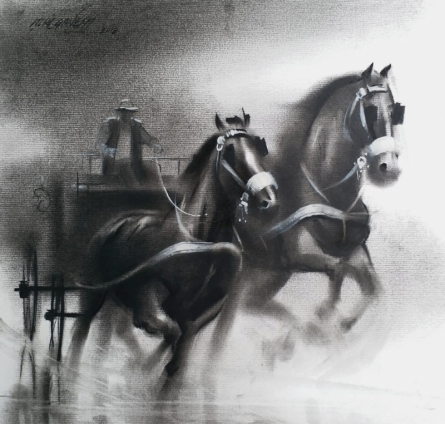 Animals Charcoal Art Painting title 'Horse Carriage 4' by artist Ganesh Hire