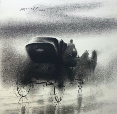Animals Charcoal Art Painting title 'Horse Carriage 7' by artist Ganesh Hire