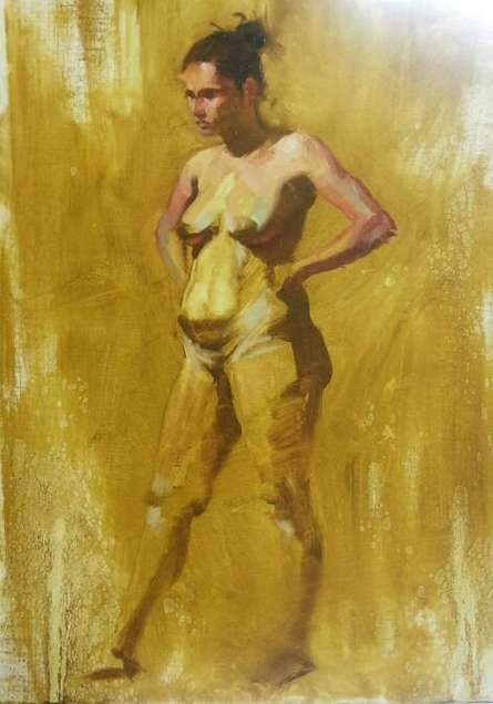 Ganesh Hire | Oil Painting title Standing Nude 2 on Canvas | Artist Ganesh Hire Gallery | ArtZolo.com