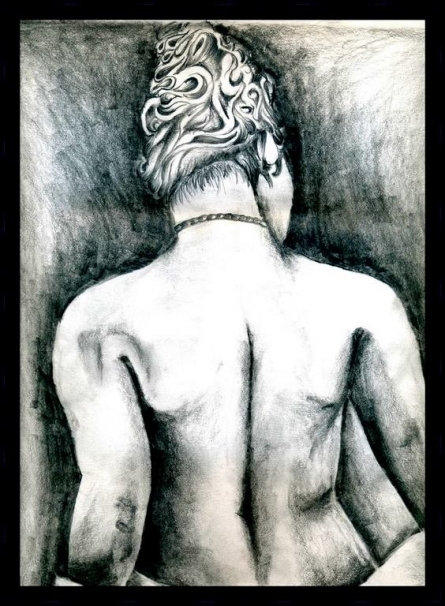 Figurative Charcoal Art Drawing title 'Pencil on paper' by artist Soumen Roy