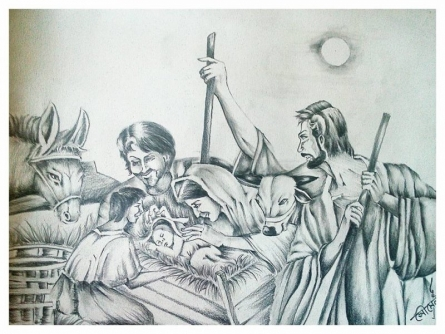 Birth of Jesus christ | Drawing by artist Soumen Roy | | pencil | Art Paper