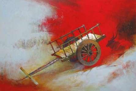 Fantasy Acrylic Art Painting title 'Bullockart' by artist Sachin Akalekar