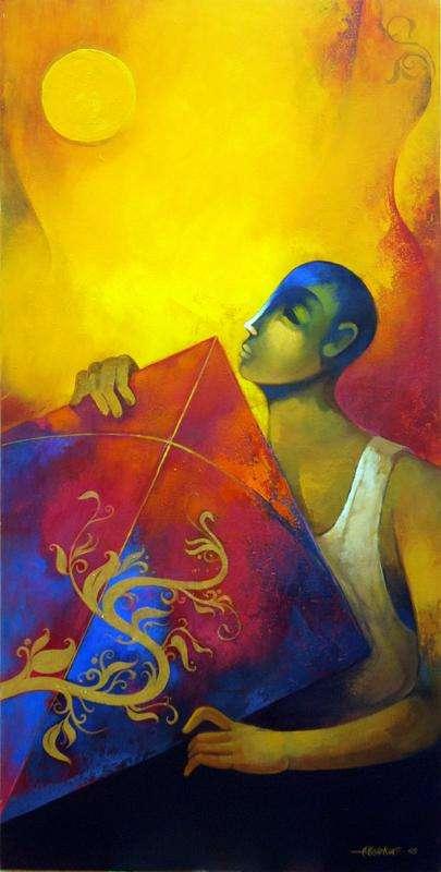 Fantasy Acrylic Art Painting title 'Kite' by artist Sachin Akalekar