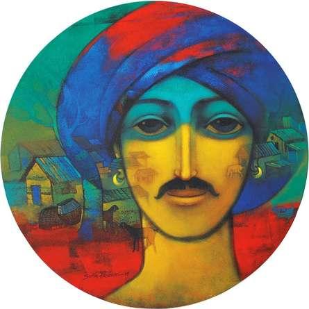 Figurative Acrylic Art Painting title 'Turban Man' by artist Sachin Akalekar