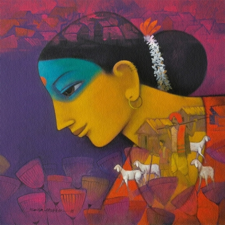 Sachin Akalekar | Acrylic Painting title Woman on Canvas | Artist Sachin Akalekar Gallery | ArtZolo.com