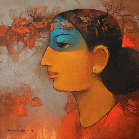 Figurative Acrylic Art Painting title My Village by artist Sachin Akalekar