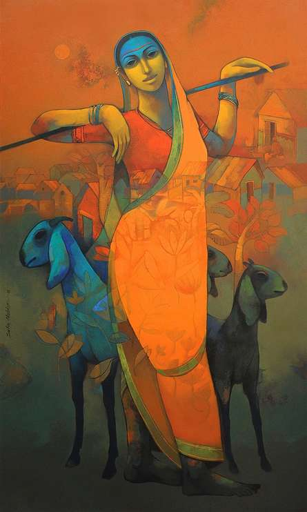 Village Woman | Painting by artist Sachin Akalekar | acrylic | Canvas