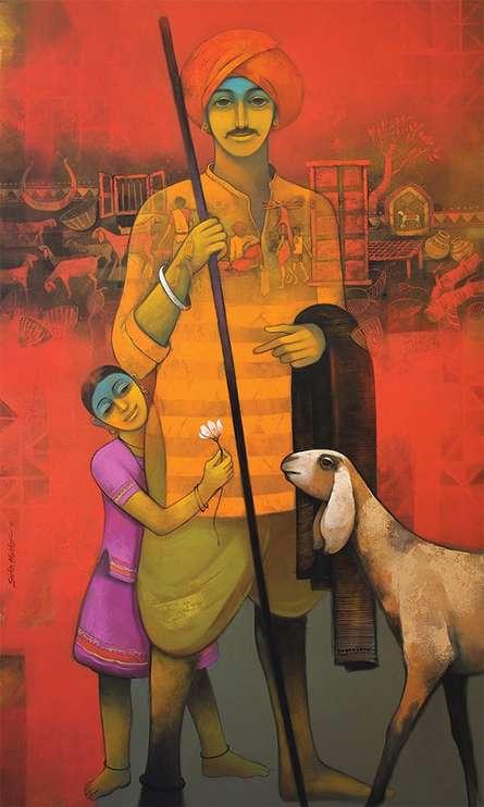 Fatherly Love | Painting by artist Sachin Akalekar | acrylic | Canvas