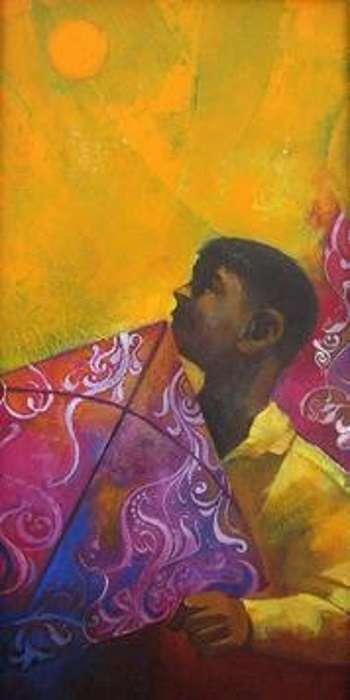 Boy with a Kite | Painting by artist Sachin Akalekar | acrylic | Canvas