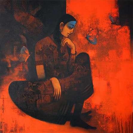Figurative Acrylic Art Painting title 'Village Woman' by artist Sachin Akalekar