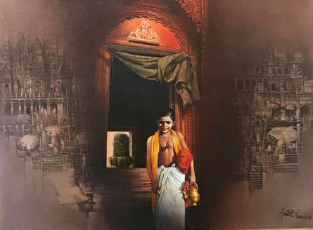 Religious Oil Art Painting title 'Banaras' by artist Amit Bhar