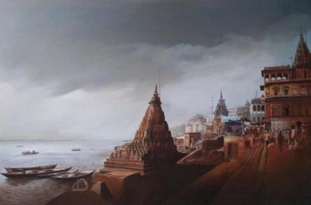 Religious Acrylic Art Painting title 'Banaras Ghat' by artist Amit Bhar