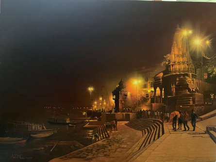 Religious Oil Art Painting title 'Banaras Ghat Night' by artist Amit Bhar