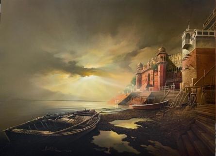 Religious Oil Art Painting title 'Banaras Ghat' by artist Amit Bhar