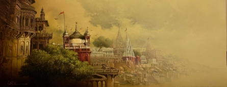 Religious Acrylic-oil Art Painting title 'Banaras Ghat' by artist Amit Bhar