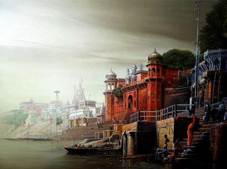Religious Oil Art Painting title 'Banaras Ghat' by artist Amit Bhar