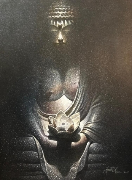 Religious Oil Art Painting title 'Buddha' by artist Amit Bhar